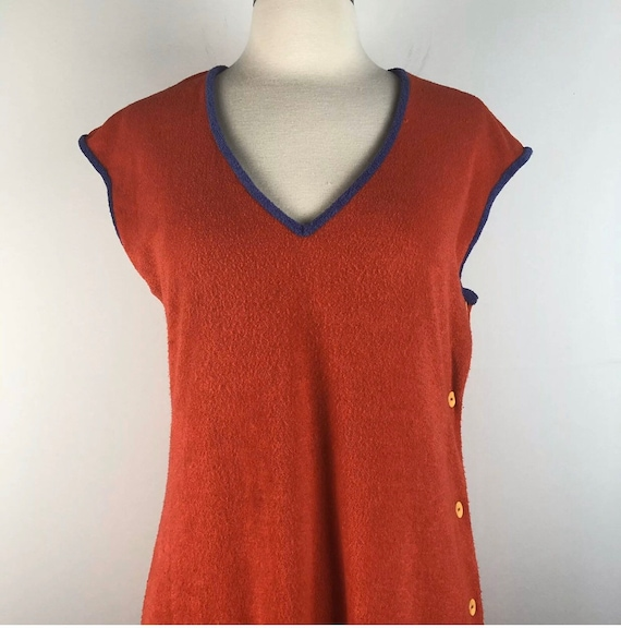 Cute vintage womens 1970's terry cloth dress. Size