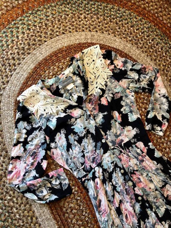 1980's vintage floral beauty rayon dress women's s