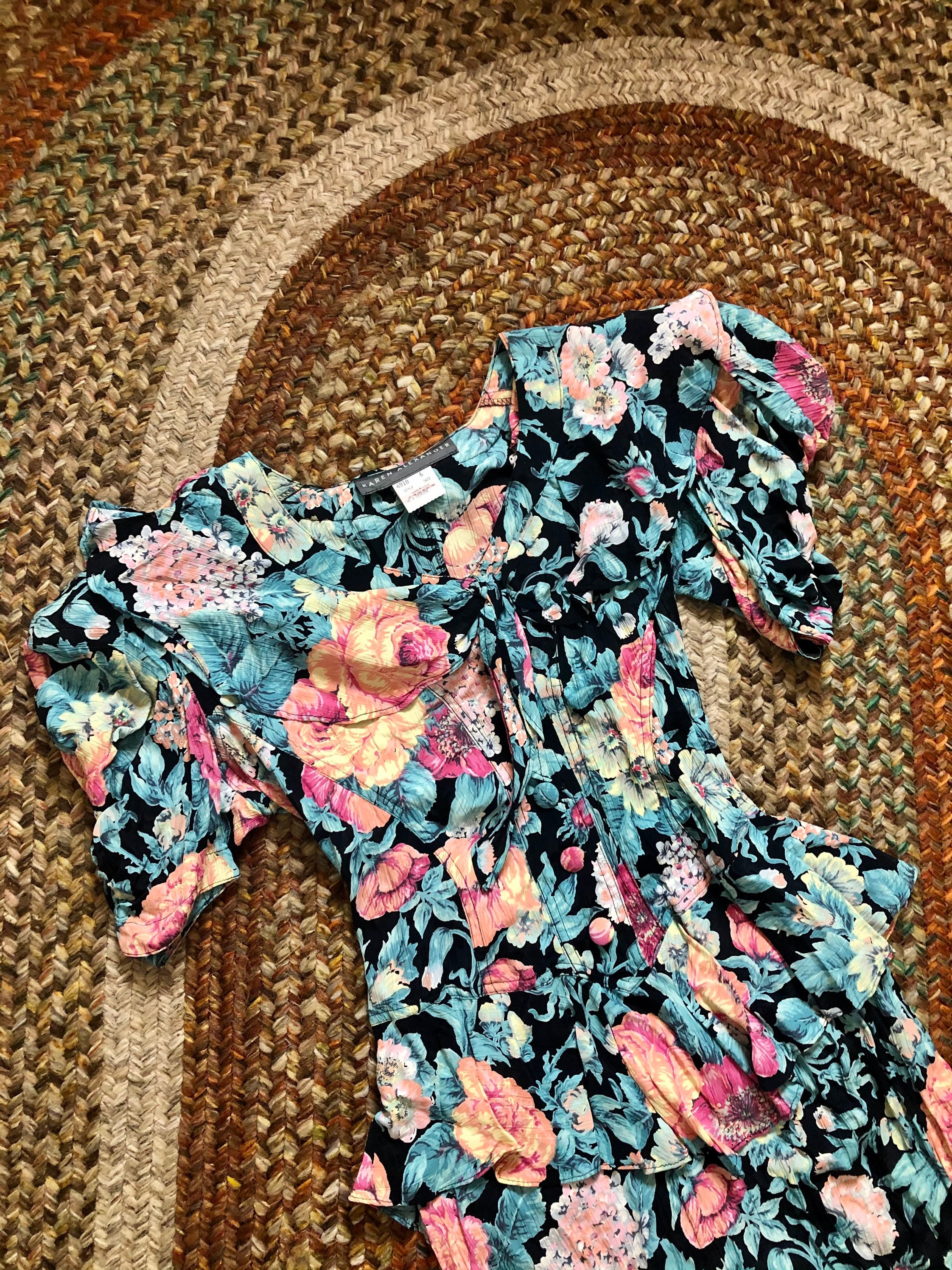 80s Dresses | Casual to Party Dresses 1980s Floral Vintage Ruffled Dress Womens Size XsSmall $48.60 AT vintagedancer.com