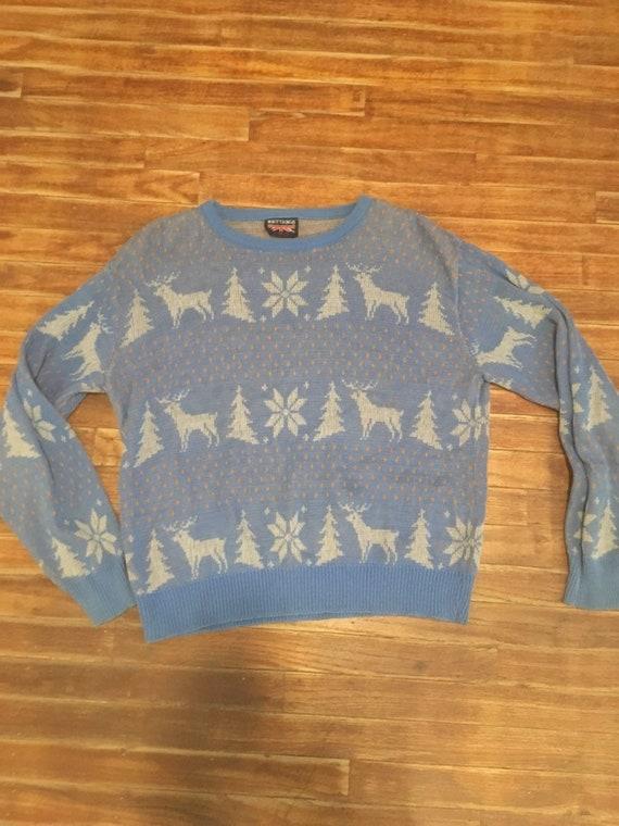 Vintage 1980's snowflake deer print boho womens or