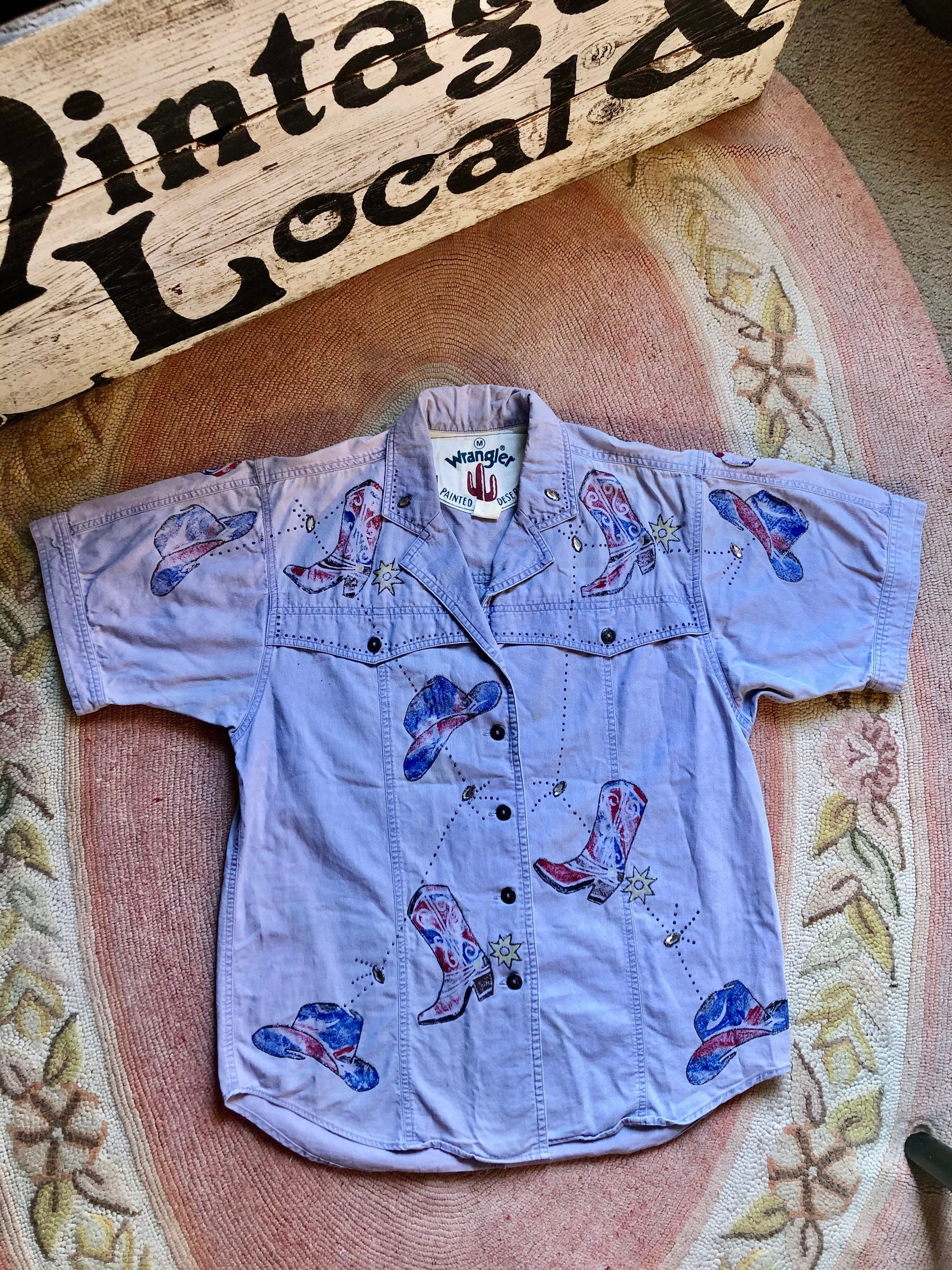 80s Tops, Shirts, T-shirts, Blouse   90s T-shirts Fun 1980s Vintage Wrangler Western Painted Button Up Womens Size MediumLarge $44.00 AT vintagedancer.com