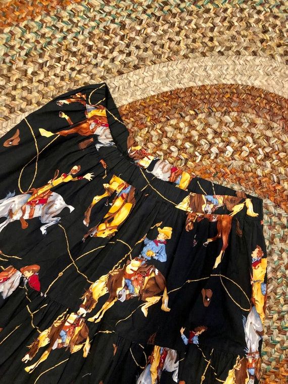 Amazing vintage 1980's/90's cowgirl print western… - image 2