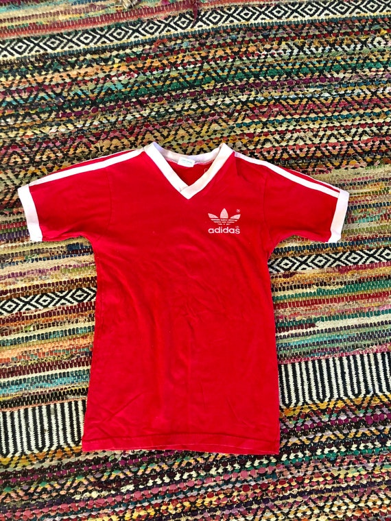 1970's vintage adidas ringer v neck T-shirt Mens o