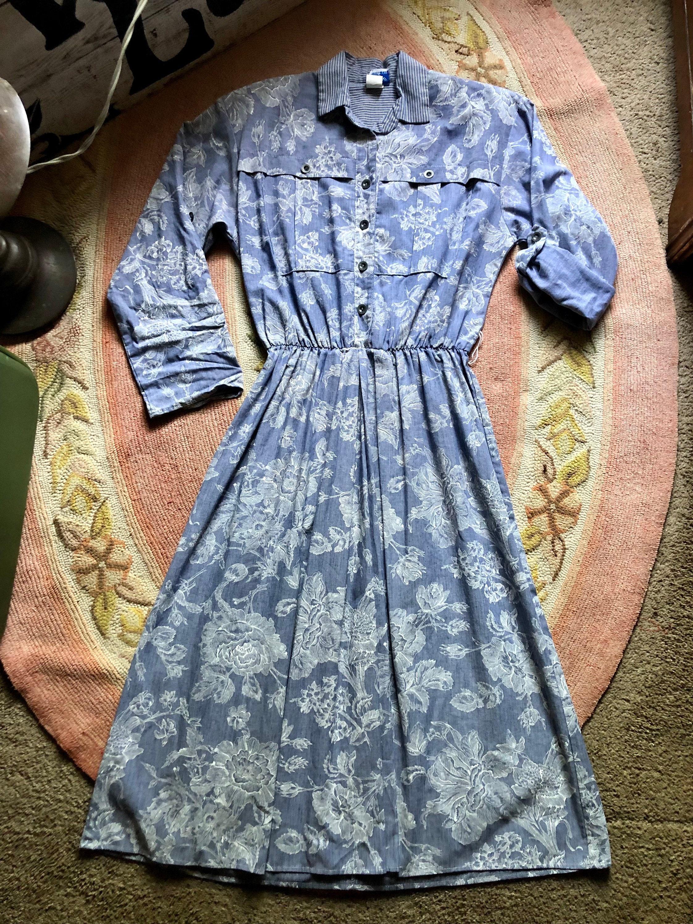 80s Dresses | Casual to Party Dresses Adorable 1980s Vintage Floral Dress Womens Size MediumLarge $50.40 AT vintagedancer.com