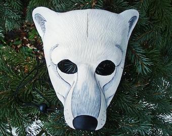 MADE TO ORDER Polar Bear Leather Mask... masquerade costume mardi gras halloween burning man