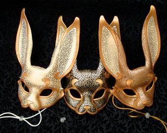 Leather Mask MADE TO ORDER Venetian Rabbit Mask... masquerade bunny costume mardi gras halloween burning man splicer