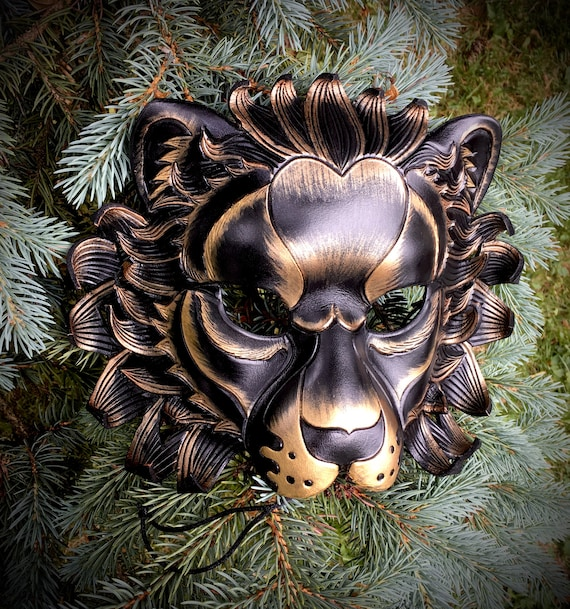 ready to ship Carnelian Leather Lion mask