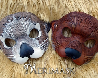 MADE TO ORDER Otter Leather Mask... masquerade costume mardi gras halloween burning man cute sea otter river otter