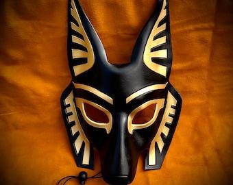 Leather Mask MADE TO ORDER Anubis Mask... masquerade egyptian jackal costume mardi gras halloween Art Deco