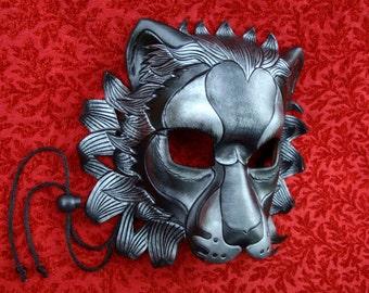 MADE TO ORDER Black Silver Lion Leather Mask... masquerade cat costume mardi gras halloween burning man