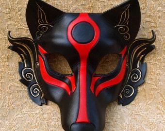 MADE TO ORDER Okami Wolf Mask... masquerade Japanese leather mask costume mardi gras halloween burning man cosplay