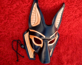 MADE TO ORDER Traditional Anubis Leather Mask... masquerade egyptian jackal costume mardi gras halloween burning man