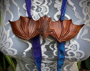 READY TO SHIP  Leather Bat Lariat Necklace ... hand dyed silk leather beaded Boho Fairy jewelry