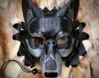 Leather Mask MADE TO ORDER Black Dire Wolf Mask... masquerade leather mask costume mardi gras halloween burning man cosplay