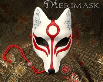 MADE TO ORDER Okami Kitsune Mask... masquerade Japanese fox mask costume mardi gras halloween burning man splicer