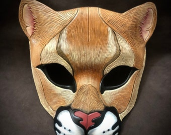 Leather Mask MADE TO ORDER Mountain Lion Leather Mask... masquerade cougar panther puma cat costume mardi gras halloween burning man