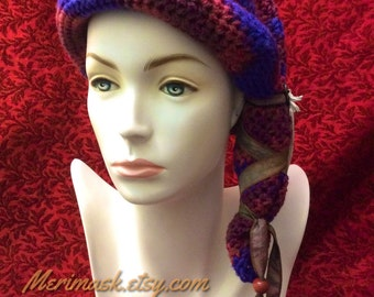 Blueberry Boho Hawk Cloche Crocheted Slouch Hat... knit yarn tied soft scarf cap bohemian boho
