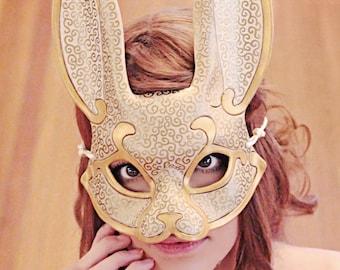 MADE TO ORDER Venetian Rabbit Leather Mask... masquerade bunny costume mardi gras halloween burning man splicer