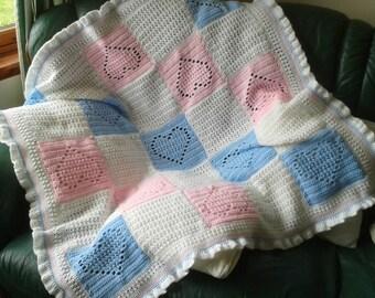 Crochet Baby Blanket Afghan Throw  Hearts  design