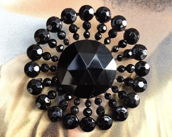 Antique Wired Black Glass Victorian Reuse Pin