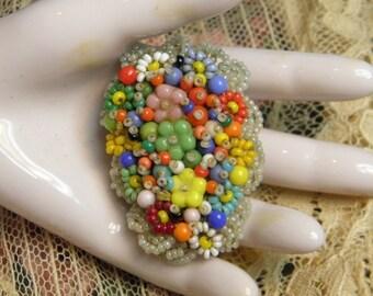 Vintage Beaded Dress Clip Czechoslovakia Jewelry
