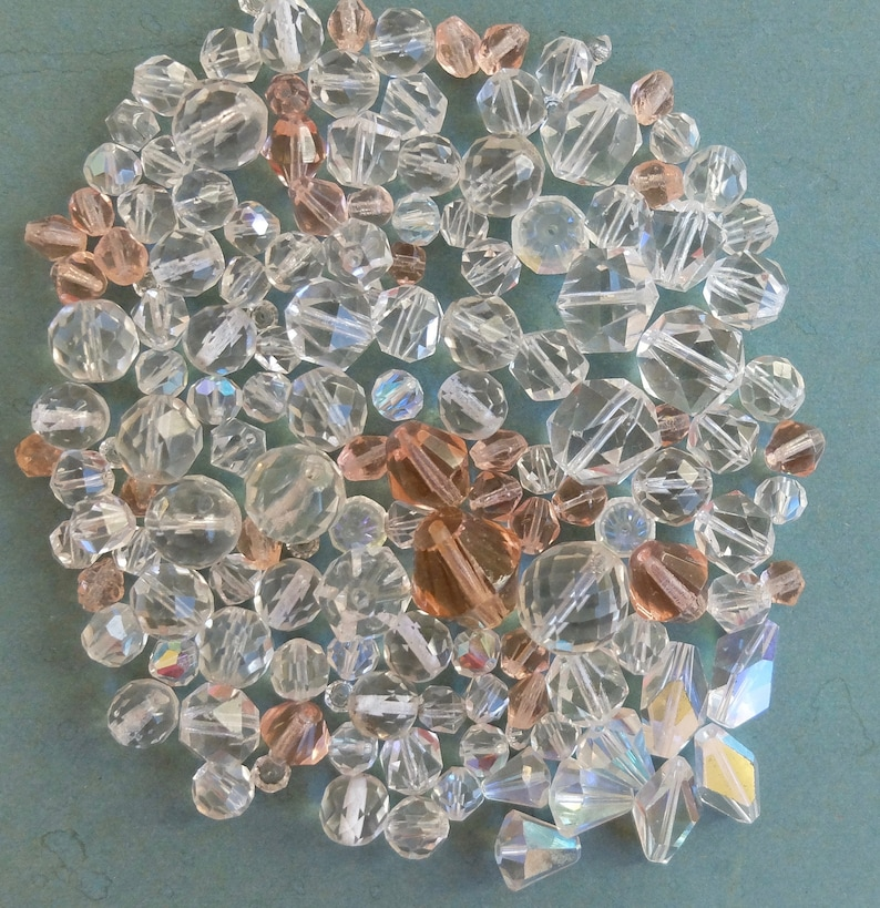 Lg Lot Vintage Crystal Glass Beads Assortment Clear Faceted 124 grams
