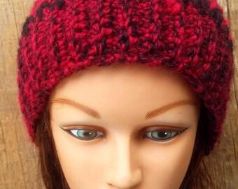 fcce1c1ee01 Handmade Crochet Messy Bun Ponytail Hat Red Black Warm Wool Beanie Hat  Holiday Beanie Ladies Hat Teen Beanie Holiday Gift Winter Accessory