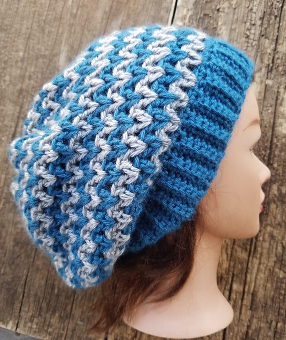 62ab4115b81 Handmade Crochet Ocean BLUE Gray Slouchy Hat Beanie Hat Winter