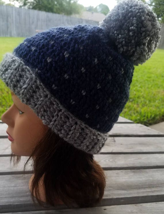 9d721294c2506 Handmade SNOWFALL Slouchy Hat POMPON Crochet Hat Blue Gray