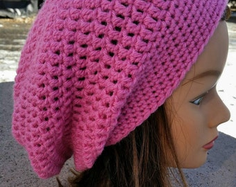 Handmade Crochet Ladies Pink Slouchy Celebrity Hat cap FREE SHIPPING Teen Adult Small Holiday Gift Party Hat Cold Weather Accessory