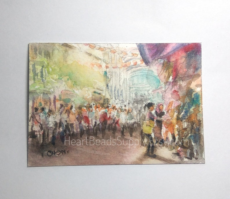 shopping Chinatown tourist street scene Asia watercolor painting id180525 atc miniature art landscape Original Aceo