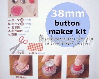 """Fabric Cover Button maker Kit - 38mm, 1.5"""", big button assembly tool, diy bouton tissu, wire loop back, id1330768, scrap fabric uses"""