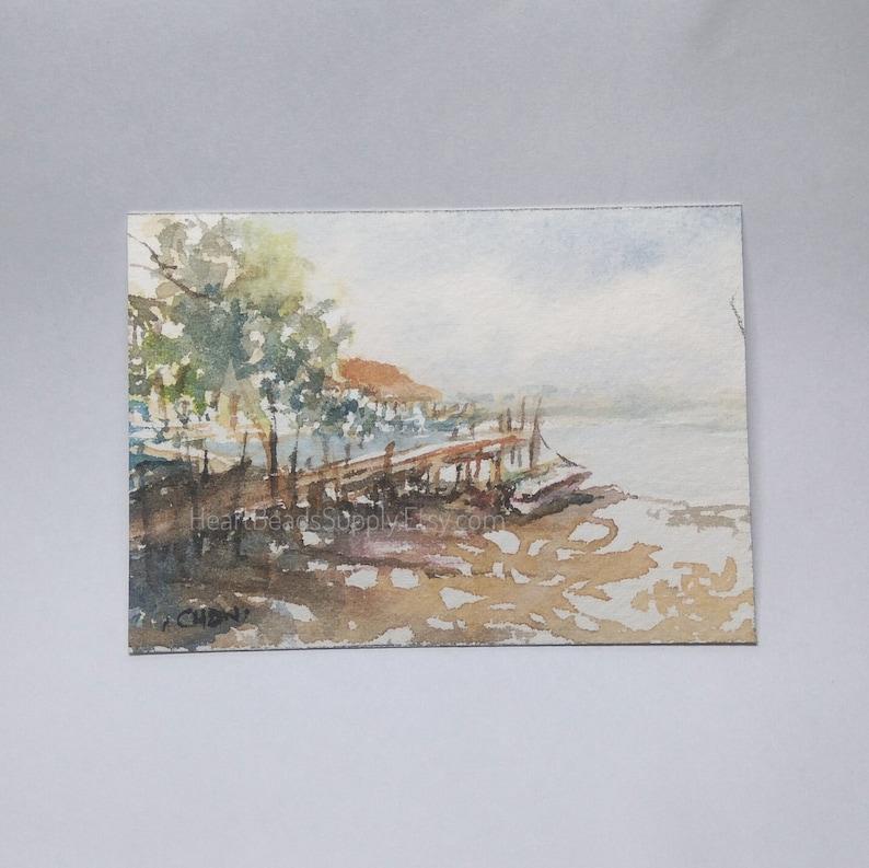 boat original buildings atc id180507 miniature art landscape watercolor painting Pulau ubin Original ACEO