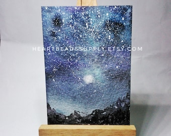 original Aceo, Silvery Moon, night sky, stars, starry mountain landscape, miniature painting, atc, id180329 not a print, gift idea