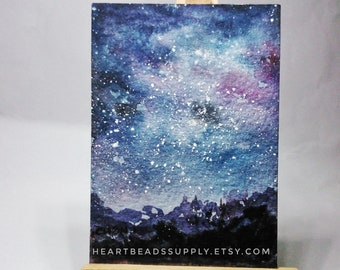 original Aceo, Mountains night sky, stars, starry landscape, miniature painting, atc, id180329 not a print, gift idea