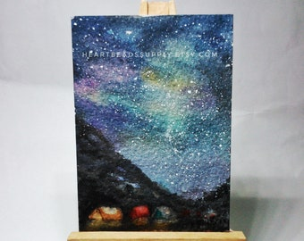 original Aceo, Camp in the mountains, night sky, stars, starry, tents landscape, miniature painting, atc, id180329 not a print, gift idea