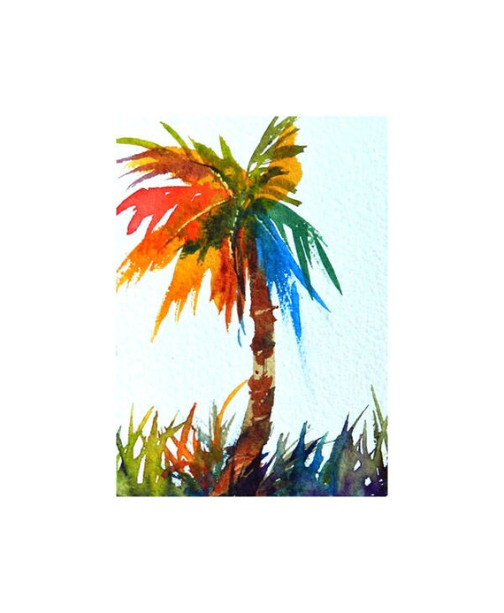 Aceo Palm Tree In Many Colors Tropical Watercolor Painting Etsy