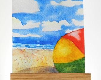 Beach Ball ACEO Original Watercolor Painting Kids Beach Fun Art Seascape Ocean Art Happy Place Painting Florida Beach Vacation Tiny Art Sea