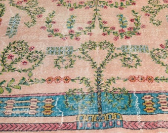 Carpet Rug Floral 8' x 10.5' Pastel Turquoise Overdyed Vintage