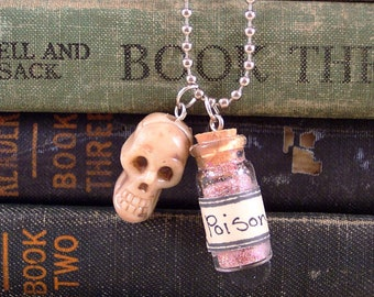 Poison Bottle and Skull Charm Necklace  - Day of the Dead  Necklace - Halloween Charm Necklace - Dia De Los Muertos Jewelry