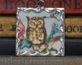 Tasha Tudor Fairies and Owl Pendant - Vintage Tasha Tudor Book Charm - Owl Charm - Soldered Glass Jewelry - Literary Gift