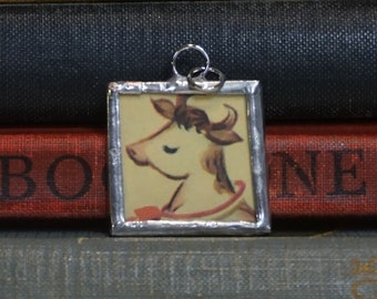 Cow Charm -  Soldered Glass Pendant - Upcycled Jewelry - Vintage Book Illustration - Cow Jewelry - Animal Lover