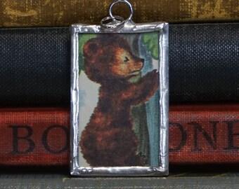 Brown Bear Pendant - Soldered Glass Charm - Vintage Book Illustration - Climbing Bear Charm