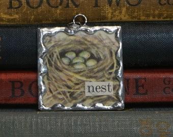 Bird Nest Pendant - Soldered Glass Charm - Book Illustration Jewelry - New Baby Gift - Nest Charm