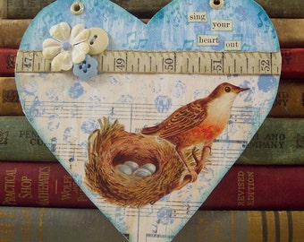 Bird Nest Collage Art Wall Hanging - Shabby Cottage Chic Home Decor