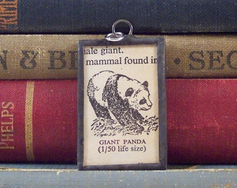 Panda Pendant - Vintage Dictionary Charm -  Panda Charm - Monogram P Jewelry - Soldered Glass Pendant