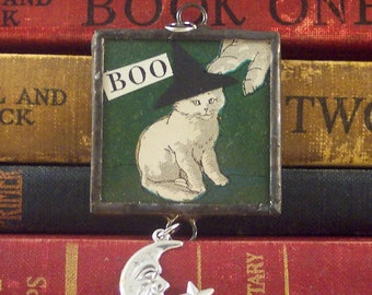 Witch Cat Pendant - Soldered Glass Charm - Mixed Media Halloween Jewelry