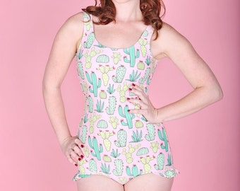 SALE ..Pink & green cactus print Womens vintage one piece retro pinup swimsuit with ruffle trim