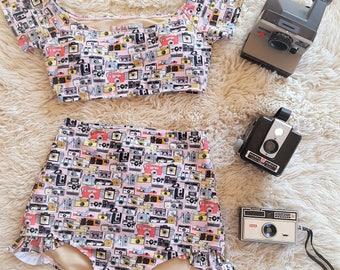Pink vintage camera print Women's Retro Pin up High waist bikini Two piece swimsuit