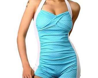 Light blue & white dotted one piece boy short retro pinup swimsuit